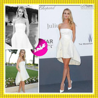 Wholesale 2014 Prom Dresses Rosie Huntington Whitely Cannes Celebrity Wear Short Beach Bridal Gowns Strapless High Low pocket Casual Wedding Dress