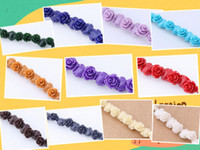 Wholesale 100pc Mixed Color Rose Flower Synthetic Shell Beads Spacer mm Finding
