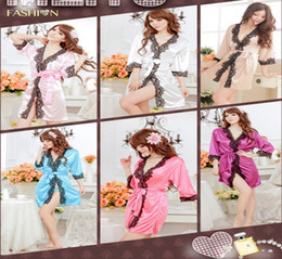 Wholesale Hot Sexy Lingerie Women Bathrobe Nightdress Acrylic Sleep Dress with G string colors
