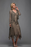 Chiffon chiffon jacket - Modest Custom made Chiffon TeaLength Lead Mother dress Sheath Evening Dress Beaded Mother of the bride Dresses With Jacket Anna25397