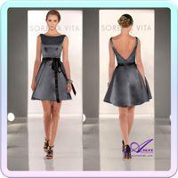 Wholesale AO2016 Hot Sale A line Batearu Neckline Sexy Short Mini Low Cut Backless Black Ribbon Sash Charcoal Grey Satin Bridesmaid Dress