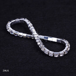ZAU1 1 Row Silver Plated Crystal Rhinestone Shiny Stretch Fashion Women Lady Bracelet Bangle Wristband Jewelry Fashion Gift Fit Party