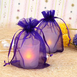 Wholesale 100pcs Purple cm cm quot x6 quot Sheer Organza bag Wedding Favor Gift Bag Organza Pouches