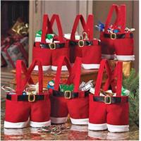 Wholesale Christmas candy gift bag Santa pants style for lover marry Christmas bag Christmas wedding candy bag