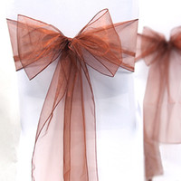 Wholesale Tracking Number Dark Brown Color quot cm W x quot cm L Organza Chair Sashes Wedding Party Banquet Decor