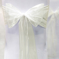 Wholesale Tracking Number Ivory Color quot cm W x quot cm L Organza Chair Sashes Wedding Party Banquet Decor