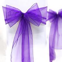 Wholesale Tracking Number Purple Color quot cm W x quot cm L Organza Chair Sashes Wedding Party Banquet Decor
