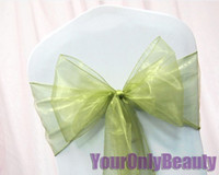 Wholesale Hot item Tracking Number Sage Green Color quot cm W x quot cm L Organza Chair Sashes Wedding Party Banquet Decor