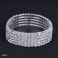 crystal stretch bracelet - ZAU5 Row Silver Plated Crystal Rhinestone Shiny Stretch Fashion Women Lady Bracelet Bangle Wristband Jewelry Fashion Gift Fit Party