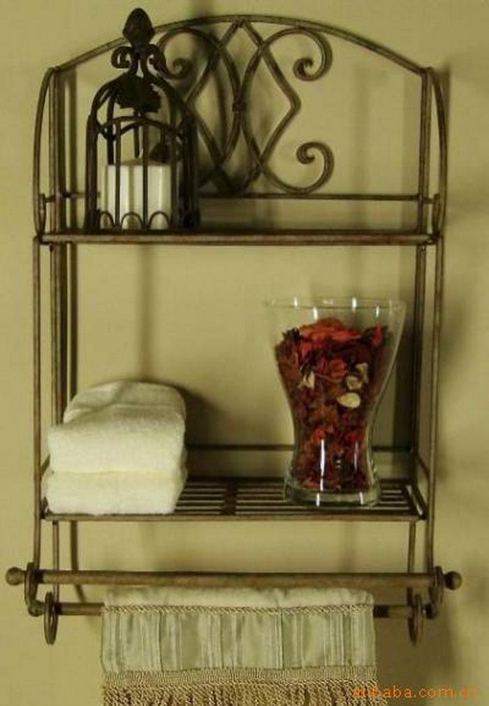 2017 Wrought Iron Towel Rack Bathroom Rack Fashion Double Pole Rack Shelf From Lucysgj