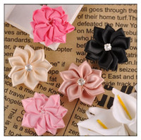 Wholesale 40X Satin Ribbon Flower Leaf Rhinestone Appliques CM DIY Sewing Wedding Craft Mixed Colored