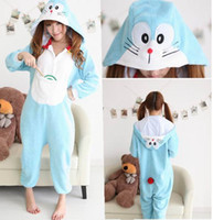 Anime Costumes adult onesie - New Hot Sale Lovely Cheap Kigurumi Pajamas Anime Doraemon Cosplay Costume Unisex Adult Onesie Yellow Blue Dress Sleepwear