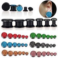 al por mayor 14mm túneles del oído de acrílico-5-14MM 72pcs UV colorido acrílico brillo Oído Túneles tornillos de cierre Earlets Medidores [ FC105 ( 12 ) * 6 ]