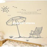 Graphic vinyl PVC Cartoon Free Shipping Crab Bird Sun Chair Beach Bedroom Living Room Wall Sticker Mural Art Vinyl Decor Home Window Decoration Decal W663