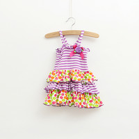 baby girl kids infant toddler lace dress cake dress stripe d...