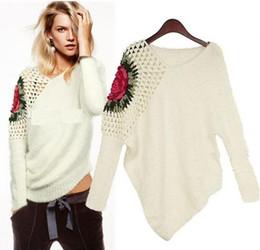 Wholesale 2015 New fashion plus size women s retro hollow bat sleeve rose sweater tank tops Knitwear knitting sweaters