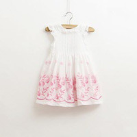 baby girl kids flower dress floral dress crochet embroidery ...