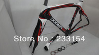 Wholesale DOGMA Pinarello Black Black Red Shiny Finish full carbon road bike frame with fork seatpost headset clamp Sale