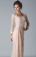Wholesale 2013 DHgate Sexy Lace Evening Dresses Long Sleeves Beaded Mother Of The Bride Dresses w034
