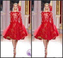 Wholesale Best Selling Evening Dresses Bateau long Sleeve Red Lace Zuhair Murad Short Cocktail Dresses