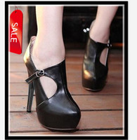 Wholesale Newest Hollow Out CM High Platform Basic Pumps Sexy Office Lady Black Top PU Leather Shoes size to On Sale