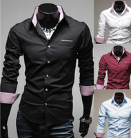Wholesale Men s cultivate one s morality Business casual tide together wash and wear long sleeve shirt