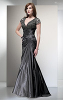 Wholesale 2013 New Arrival V neck Mermaid taffeta and lace evening dress gowns Mother of the bride sexy prom dress