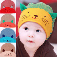 Unisex Winter Cotton Free Shipping 5 Pieces Lot Infant Cotton Hat Newborn Baby Crochet Stripe Caps 3D Cat Ear Beautiful Beanie Baby Children Hat