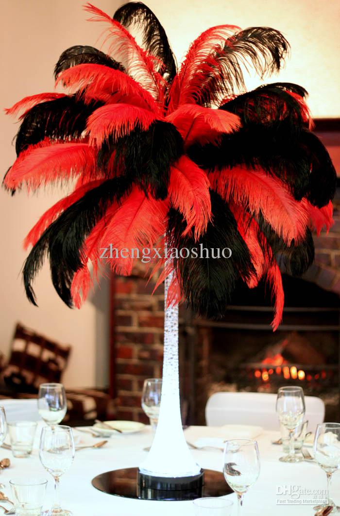 Wholesale prefect inch cm red and black ostrich