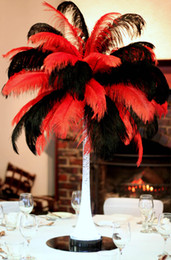 Wholesale-Free Shipping Prefect 100 pcs lot 18-20inch(45-50cm) red and black Ostrich Feathers for Wedding Centerpieces