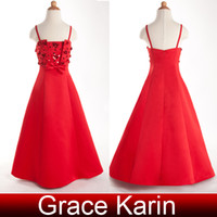 Wholesale Lovely Spaghetti Strap Red Satin Flower Girl Dresses A line Long Pageant Party Dresses Girls Size Years CL4521