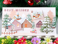 Christmas big greeting cards - big size X21 cm snow and house D handmade Christmas greeting card pattechristmas gift card card envelope pack birthday cards CA6