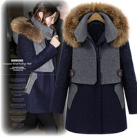Women Wool Blend Street Fashion 2013 New Arrival Women's Long Sleeves Raccoon Fur Hooded Collar Cotton Filling Zipper Closure Winter Fashion Woolen Coats