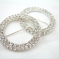 A-GRADE diamante buckles - 5pcs High Quanlity Wedding Chair Sash Silver Circle A GRADE cm Diamante Buckle