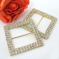 A-GRADE diamante buckles - Super Sale High Quanlity Wedding Chair Sash Gold Square A GRADE cm Diamante Buckle