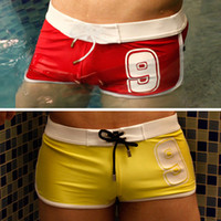 Cheap 3PCS Lot Free Shipping New Fashion Mens Sexy Swimwear Swimming Trunks Boxers Briefs Short Rope Low Wasit Beachwear Pouch Swim Suits 3 Colors