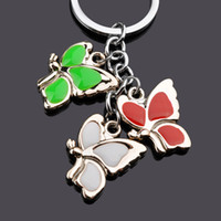 Wholesale New Creative Fashion Car Key Chain Couple Keychain Ms Ornaments Holiday Gift Beautiful Colored Butterfly