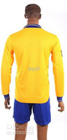 Wholesale Top Quality Long Sleeve Away Yellow Soccer Jerseys and Shorts England and Arsenal Football Jerseys