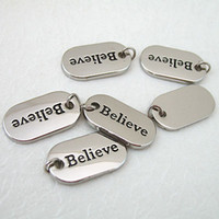 Traditional Charm believe Valentine's Day 10pcs Silver Alloy Oval Charm [ BELIEVE ] Scrapbooking Craft