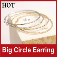 Gold. Silver  Bohemian Women's 100Pairs Sale Big Circle Earrings Hoop Earring Charm Pendant Earrings Gold Silver Fashion Alloy Jewelry Girls Gifts FREE SHIPPING