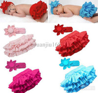 Summer babay clothes - Babay clothing Baby PP pants Flower headhand Baby girl Ruffle lace tutu skirt dress clothes set infa