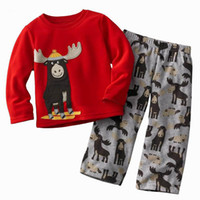 Boy baby sleds - Children s Outfits Baby Boy suits Sled Dogs Red Long Sleeve T shirts And Gray Pants Piece Set kids suit