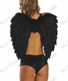 Anges ailes en Ligne-XS/S/M/L Taille Blanc / Noir en Plumes des Ailes d'Ange Aile de Costumes de Fantaisie Accessoire de Conte de Fées Idées de Costumes d'Halloween Produit MYY6719