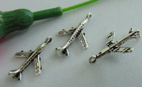 Wholesale Hot Tibetan Silver Zinc Alloy Airplane Charms mm b0029
