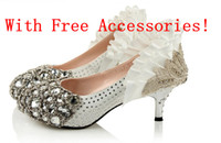 Wholesale With Beautiful Gifts Freeshipping n Low heel Silver Bead Rhinestone High Heels Bridal Wedding Shoes Party shoes