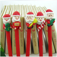 Wholesale Red Santa Claus Ornament Black Ink Ballpoint Ball Pen Uymqe DHL FREE Ship Polymer Clay Hand made Promotion and Gifts