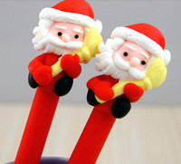 Wholesale 120PCS Unique Red Santa Claus Ornament Black Ink Ballpoint Ball Pen Uymqe DHL FREE Ship Polymer Clay Hand made Promotion and Gifts