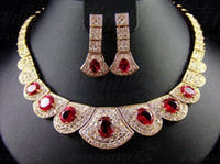 Wholesale Ruby necklace collar banquet the bride wedding jewelry set necklace earrings