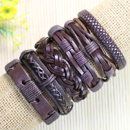 Free shipping wholesale handmade (6pcs lot)ethnic tribal genuine adjustable dark brown jewelry wrap braid leather bracelet -D08