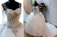 Wholesale 2014 New Actual Image Luxurious Sweetheart Wedding Dresses Beaded Fringes Straps Crystals Cathedal Train Ball Bridal Gowns hot
